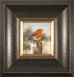 Carl Whitfield, Original oil painting on panel, Robin in Winter