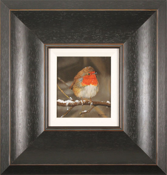 Carl Whitfield, Original oil painting on panel, Winter Robin