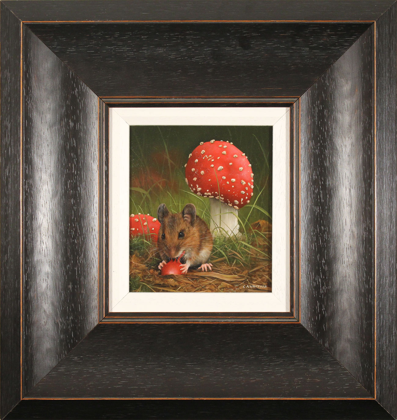 Carl Whitfield, Original oil painting on panel, Mouse and Toadstool, click to enlarge