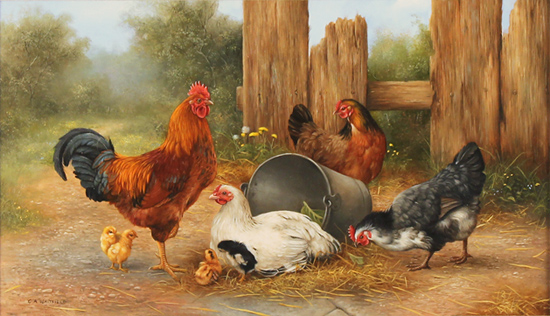 Carl whitfield original oil painting on panel farmyard for Fine art paintings for sale online
