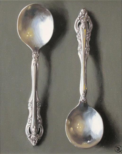 Caroline Richardson, Original oil painting on panel, Silver Spoons No frame image. Click to enlarge