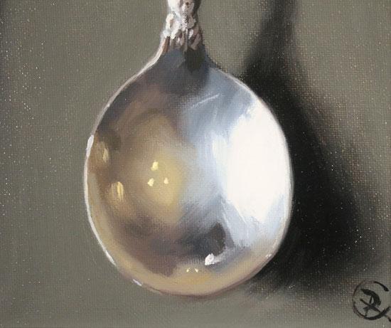 Caroline Richardson, Original oil painting on panel, Silver Spoons Signature image. Click to enlarge