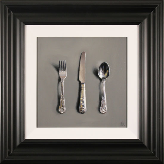 Caroline Richardson, Original oil painting on canvas, Silver Cutlery