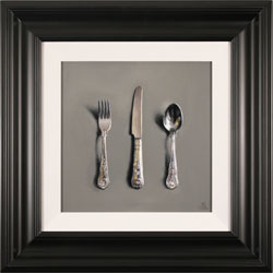 Caroline Richardson, Silver Cutlery, Original oil painting on canvas