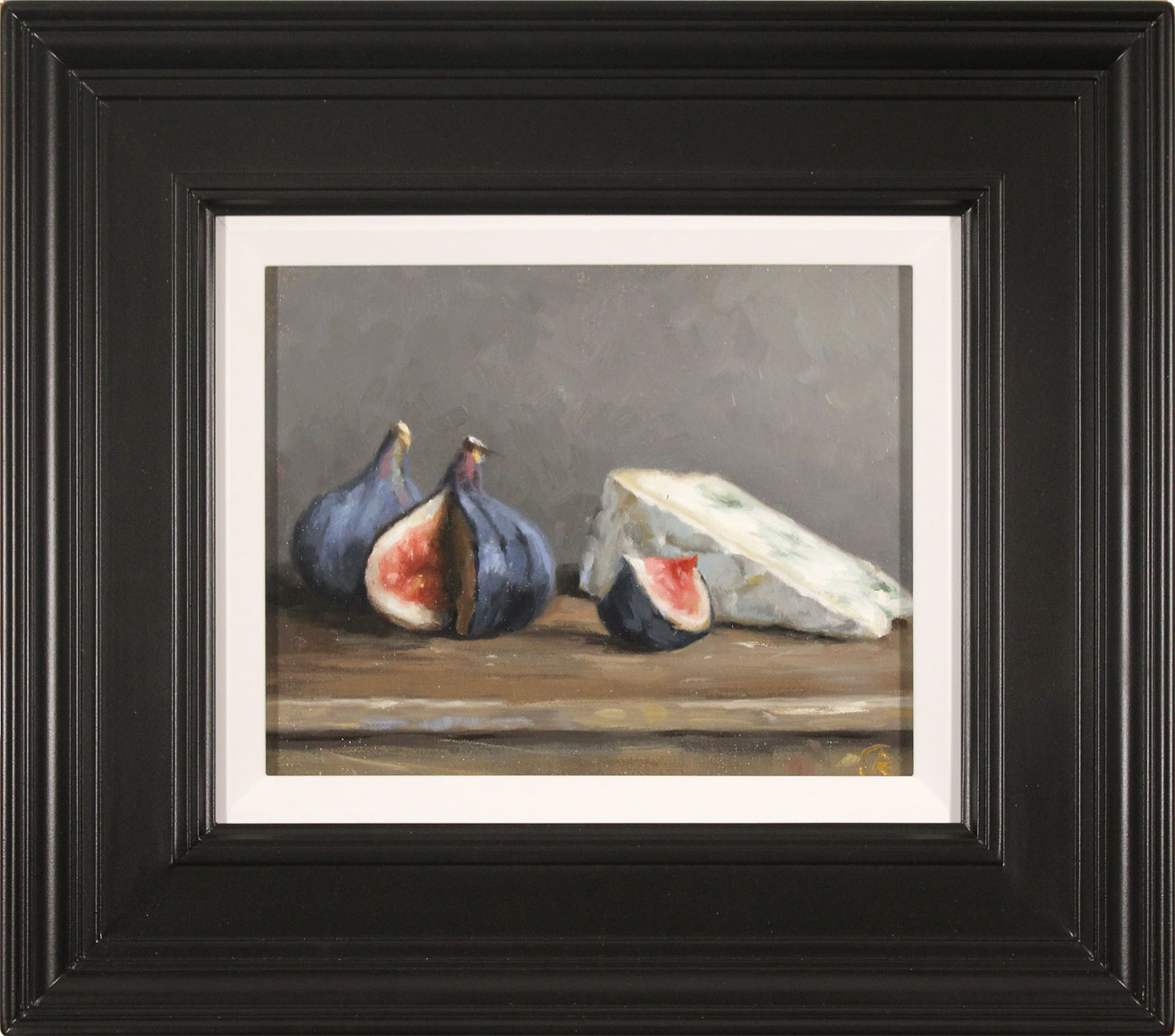 Caroline Richardson, Original oil painting on canvas, Figs and Blue Cheese, click to enlarge