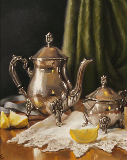 Caroline Richardson, Original oil painting on panel, Pot of Earl Grey No frame image. Click to enlarge