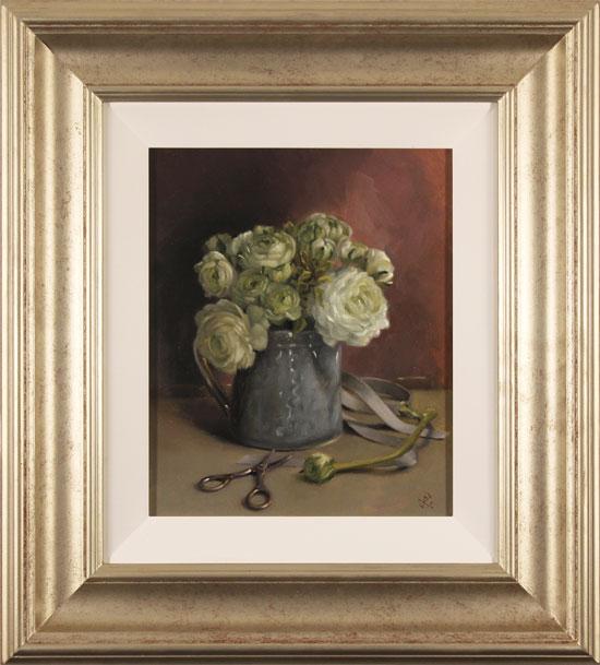 Caroline Richardson, Original oil painting on panel, Ranunculus Bouquet