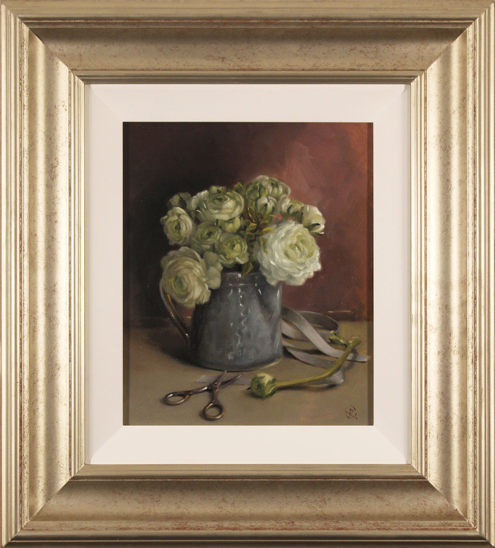Caroline Richardson, Original oil painting on panel, Ranunculus Bouquet, click to enlarge