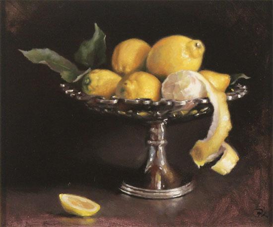 Caroline Richardson, Original oil painting on canvas, Lemons