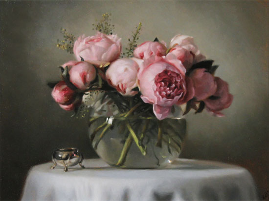 Caroline Richardson, Original oil painting on panel, Peonies Without frame image. Click to enlarge