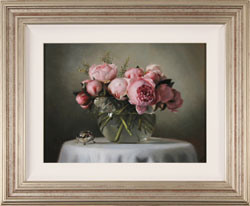 Caroline Richardson, Original oil painting on panel, Peonies