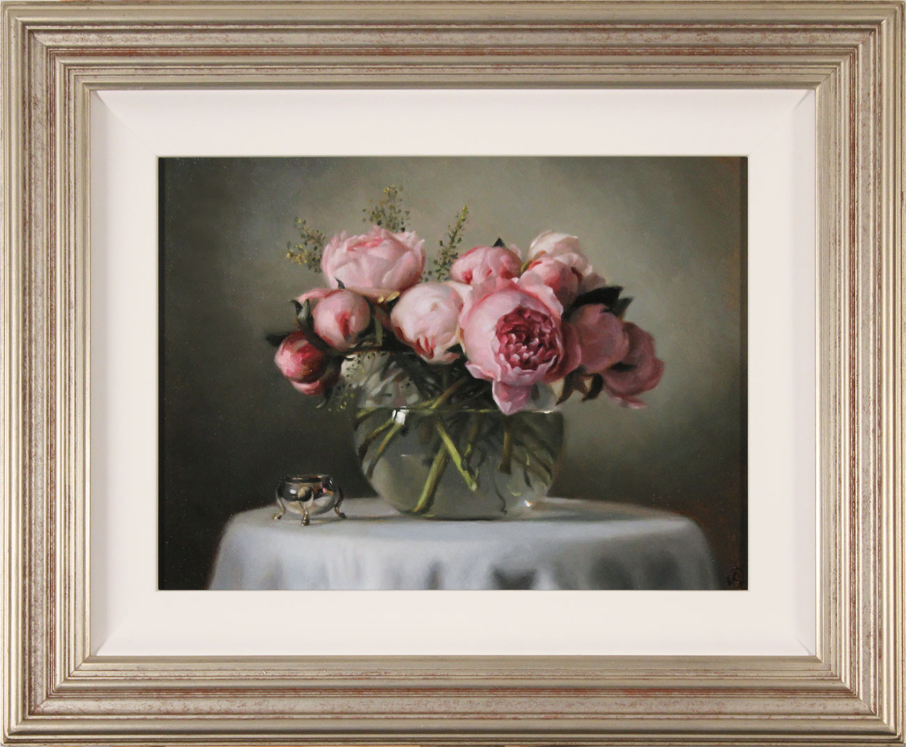 Caroline Richardson, Original oil painting on panel, Peonies. Click to enlarge
