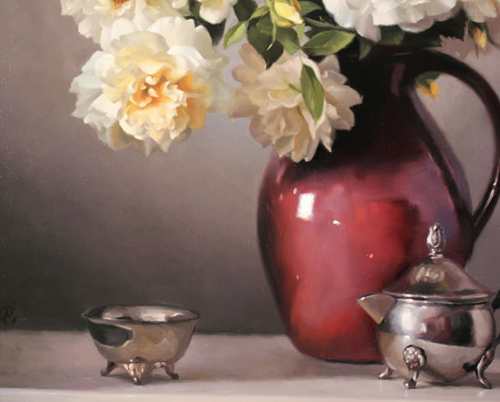 Caroline Richardson, Original oil painting on canvas, Jug of Roses Signature image. Click to enlarge