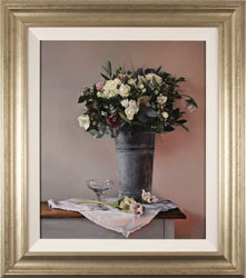 Caroline Richardson, Original oil painting on panel, Bouquet in Zinc Bucket Large image. Click to enlarge