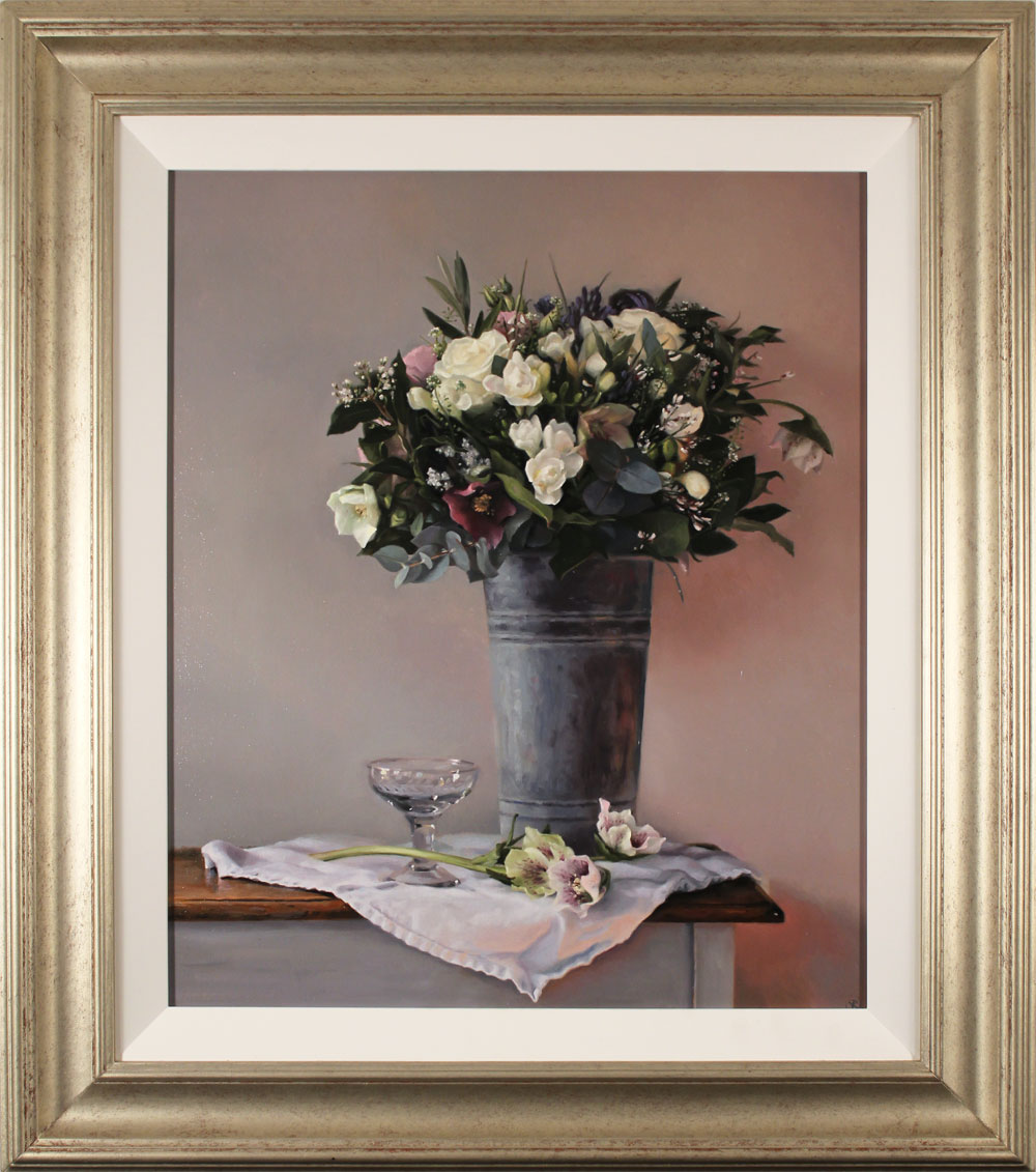 Caroline Richardson, Original oil painting on panel, Bouquet in Zinc Bucket. Click to enlarge