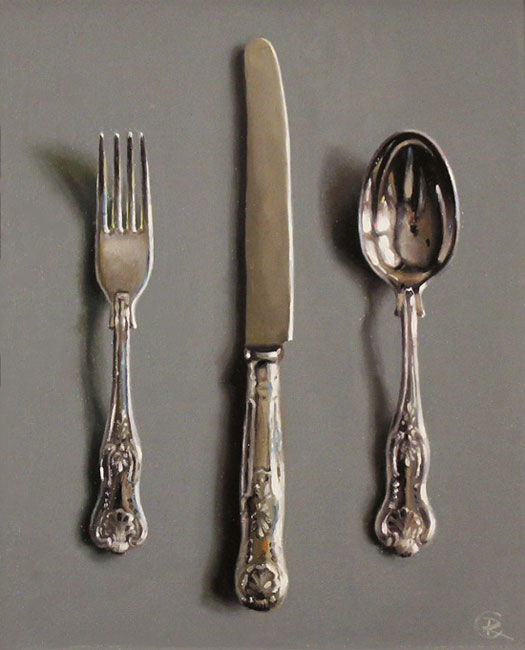 Caroline Richardson, Original oil painting on panel, Silver Cutlery Without frame image. Click to enlarge