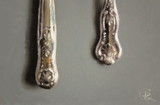 Caroline Richardson, Original oil painting on panel, Silver Cutlery Signature image. Click to enlarge