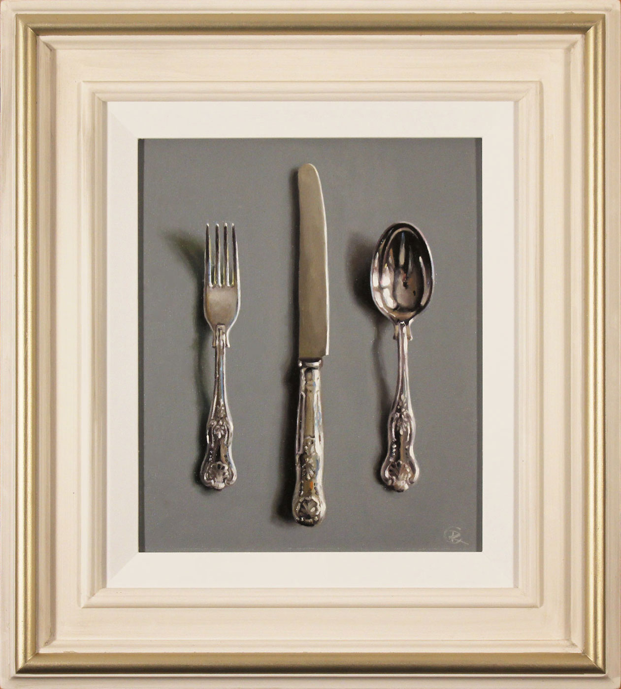 Caroline Richardson, Original oil painting on panel, Silver Cutlery. Click to enlarge