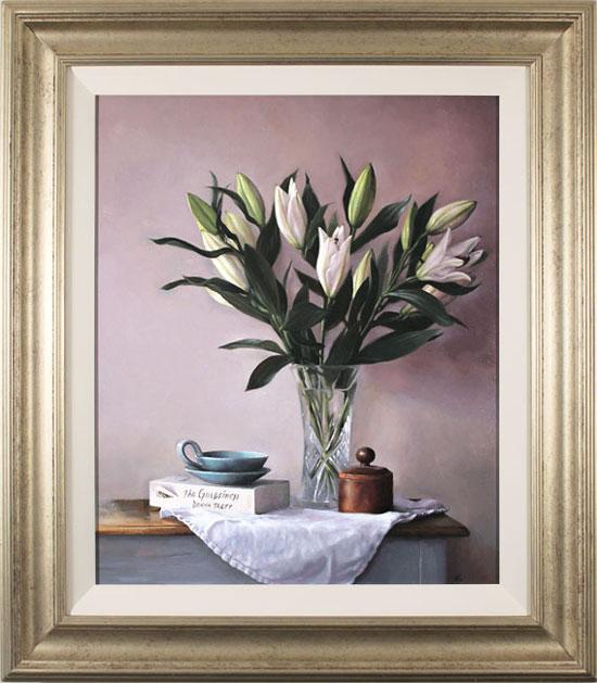Caroline Richardson, Original oil painting on panel, Lily Bouquet