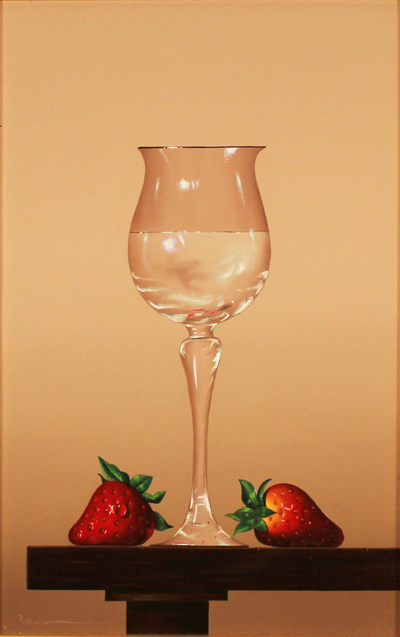 Casas, Original oil painting on panel, Glass Fruits Without frame image. Click to enlarge