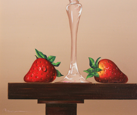 Casas, Original oil painting on panel, Glass Fruits Signature image. Click to enlarge