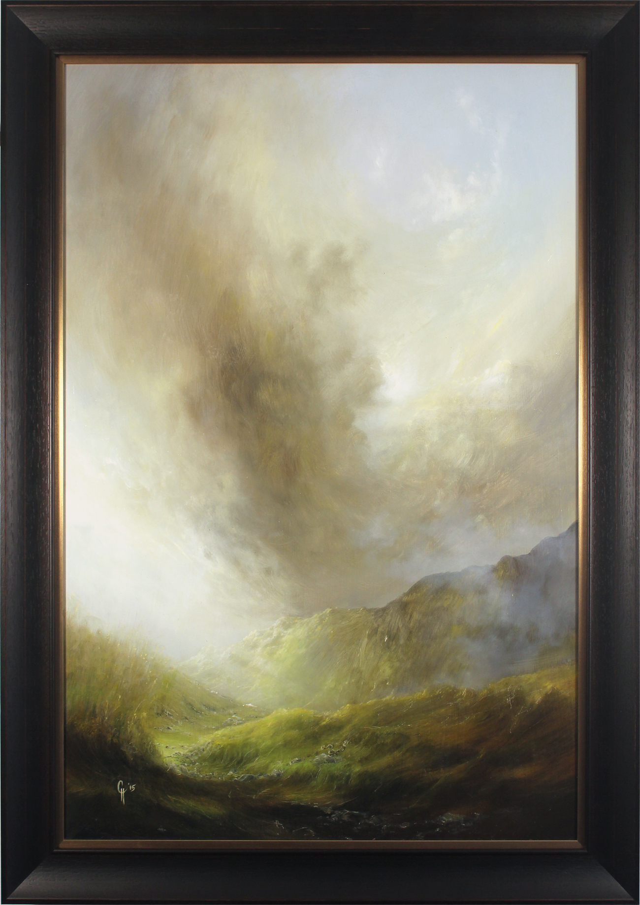 Clare Haley, Original oil painting on panel, Down to the Valley from the Mossy Path, click to enlarge