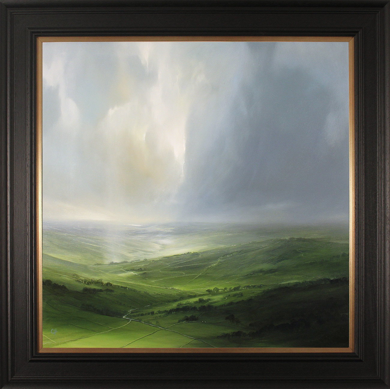 Clare Haley, Original oil painting on panel, Green Valley Fields, click to enlarge