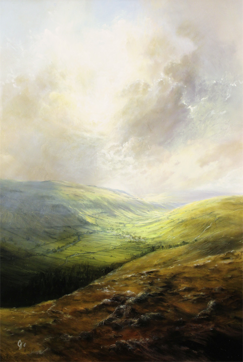 Clare Haley, Original oil painting on panel, The Majesty of the Wharfedale Valley