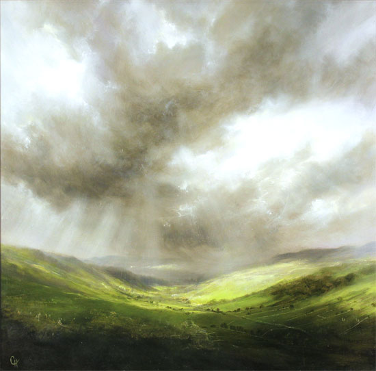 Clare Haley, Original oil painting on panel, Light Show at Wharfedale