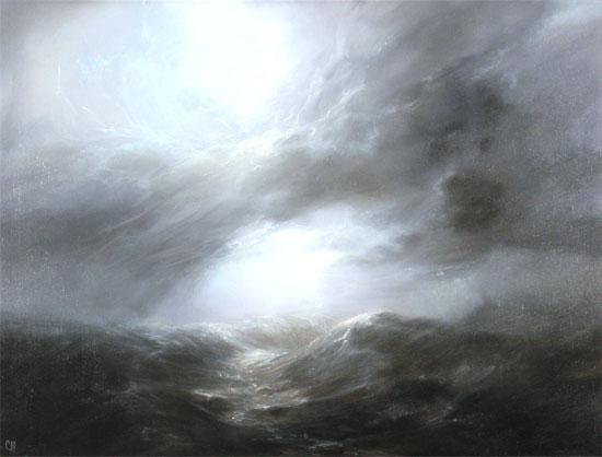 Clare Haley, Original oil painting on panel, Twisting Skies