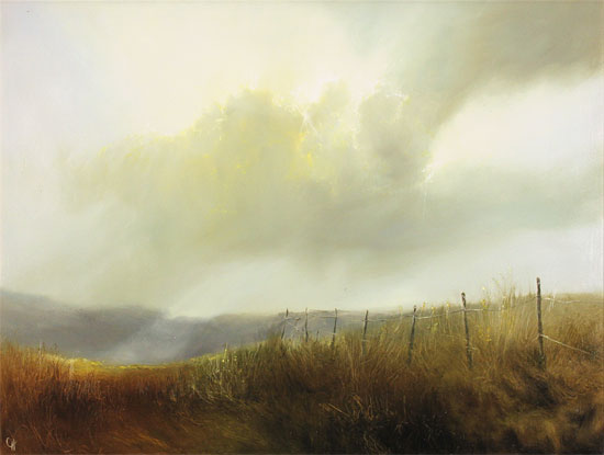 Clare Haley, Original oil painting on panel, Break from the Rain