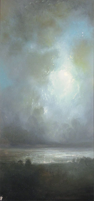 Clare Haley, Original oil painting on panel, Night Whispers No frame image. Click to enlarge