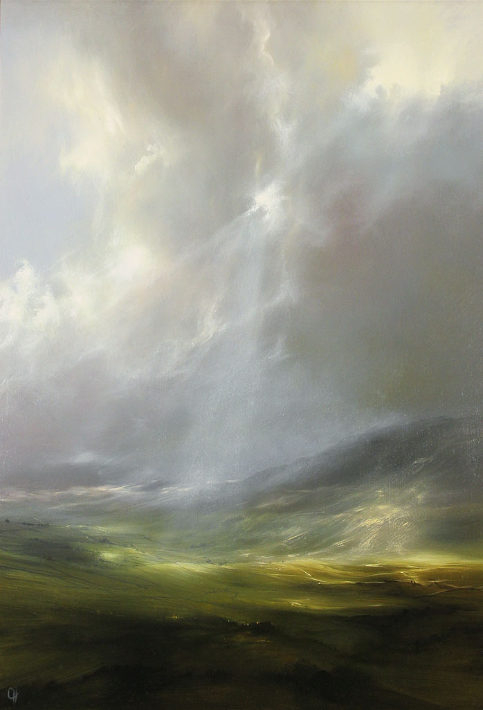 Clare Haley, Original oil painting on panel, Light Through Rifted Cloud Without frame image. Click to enlarge