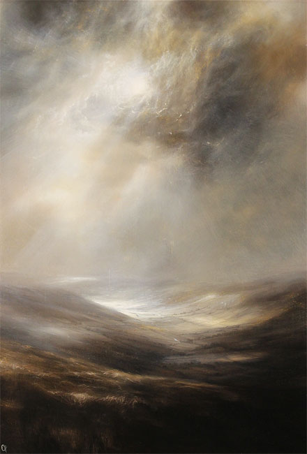 Clare Haley, Original oil painting on panel, North Yorkshire in Umber Tones Without frame image. Click to enlarge