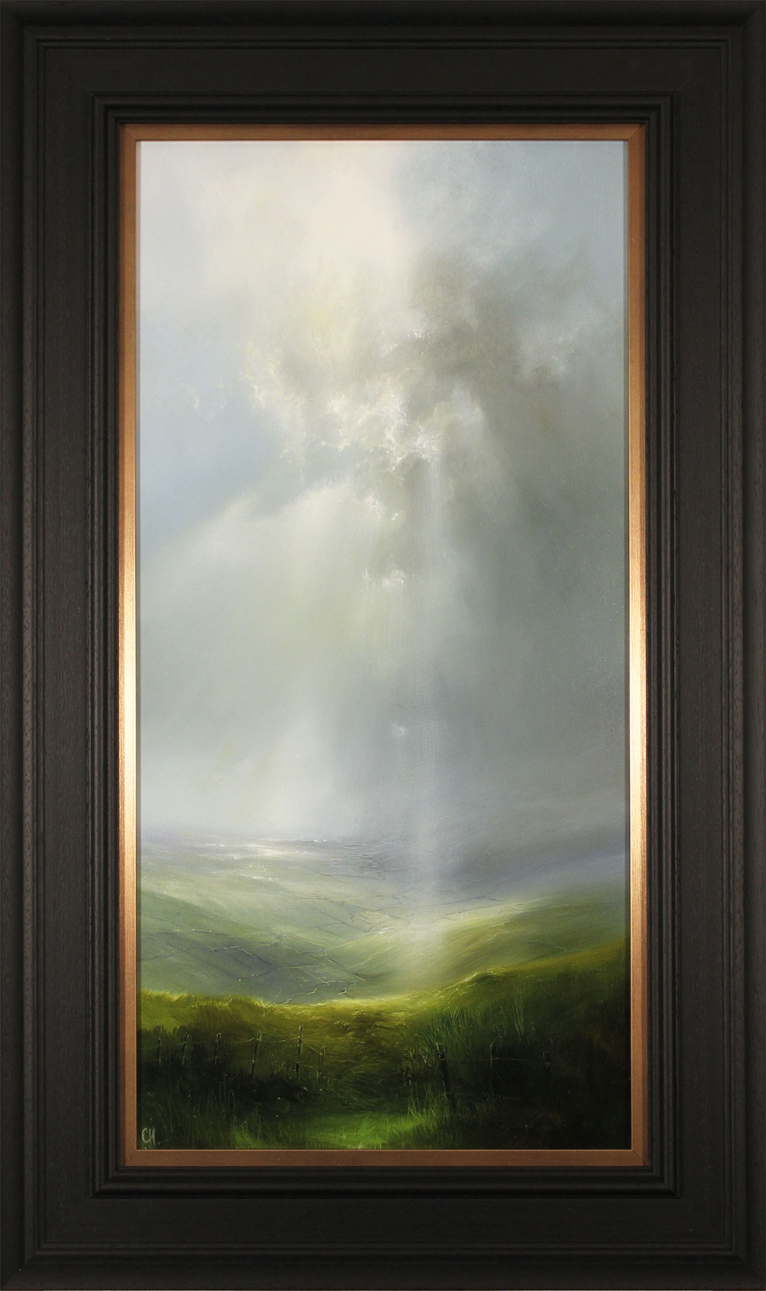 Clare Haley, Original oil painting on panel, Tall Skies Over the Valley. Click to enlarge