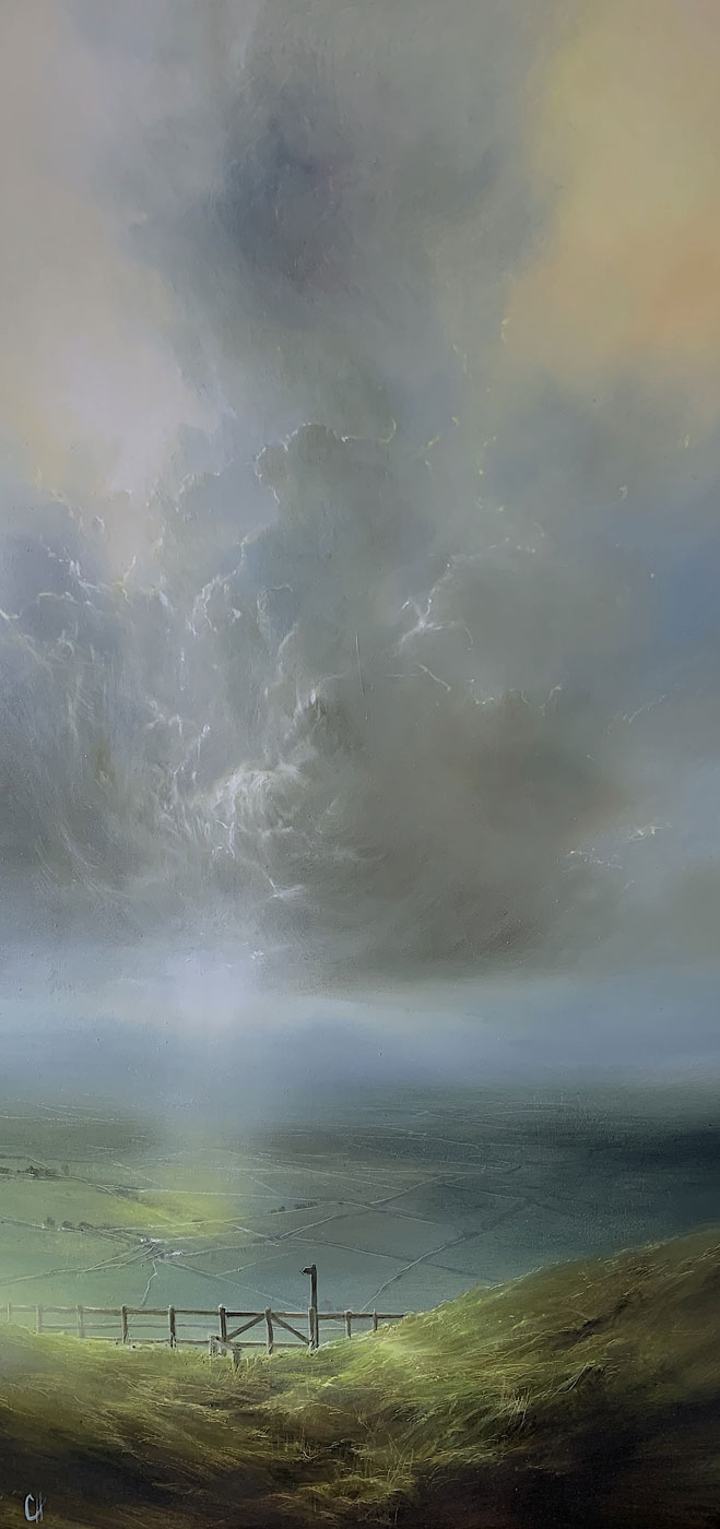 Clare Haley, Original oil painting on panel, On the Right Trail, click to enlarge