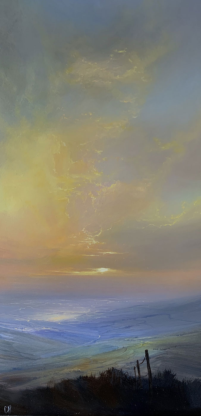 Clare Haley, Original oil painting on panel, To End the Day, click to enlarge