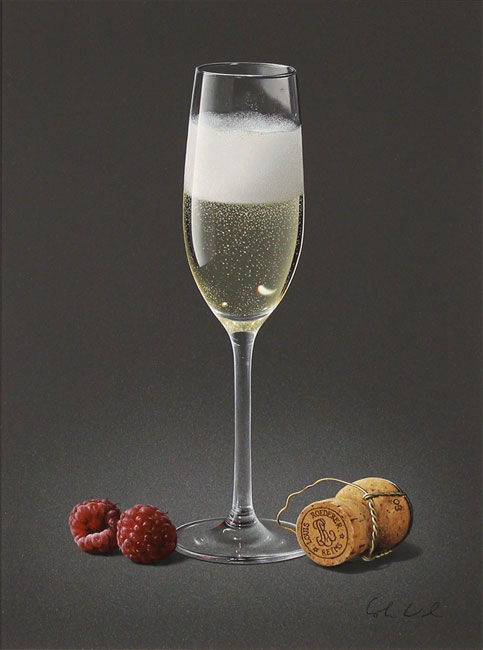 Colin Wilson, Original acrylic painting on board, Champagne and Raspberries No frame image. Click to enlarge