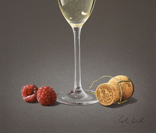 Colin Wilson, Original acrylic painting on board, Champagne and Raspberries Signature image. Click to enlarge