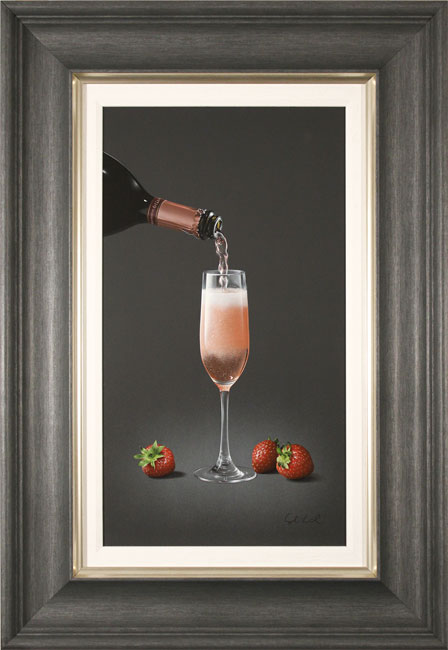 Colin Wilson, Original acrylic painting on board, Sparkling Rosé and Strawberries