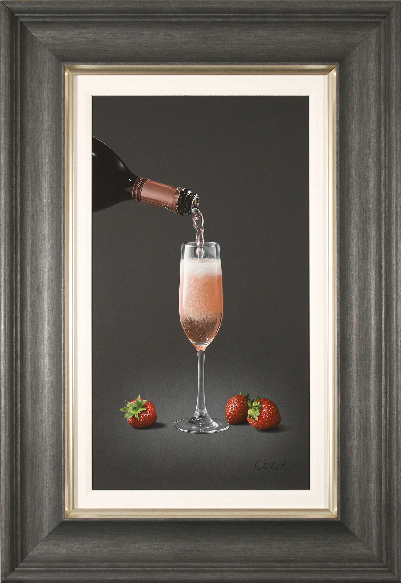 Colin Wilson, Original acrylic painting on board, Sparkling Rosé and Strawberries, click to enlarge