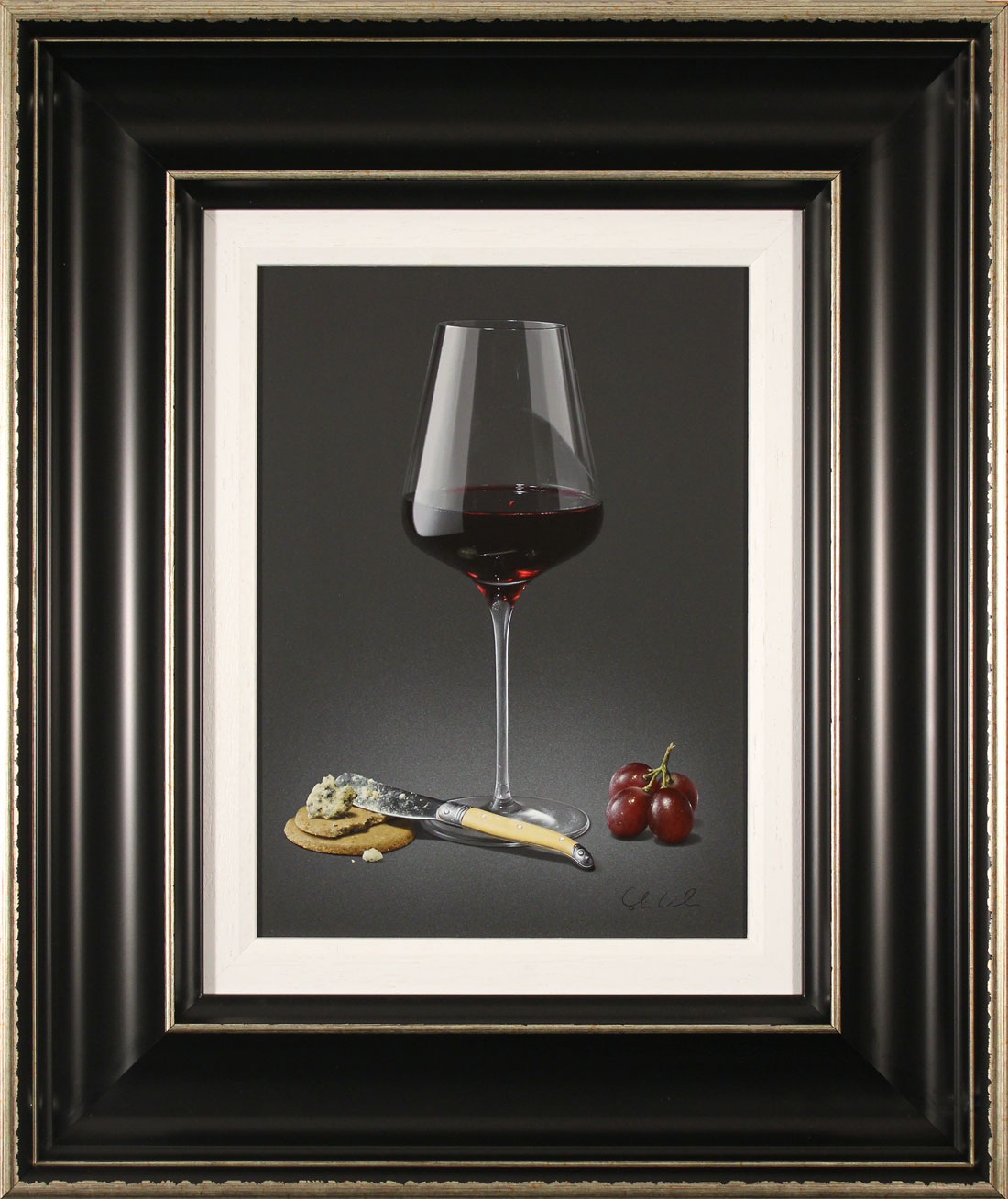 Colin Wilson, Original acrylic painting on board, Red Wine and Stilton, click to enlarge