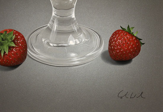 Colin Wilson, Original acrylic painting on board, Strawberries and Cream Signature image. Click to enlarge