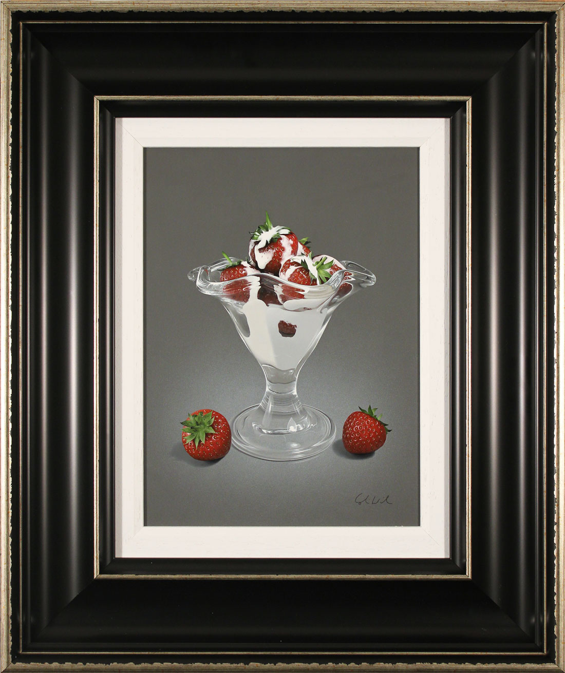 Colin Wilson, Original acrylic painting on board, Strawberries and Cream. Click to enlarge