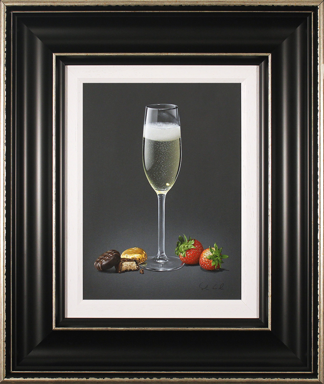 Colin Wilson, Original acrylic painting on board, Champagne and Strawberries , click to enlarge