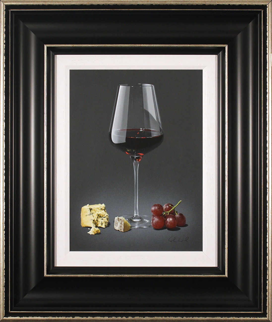 Colin Wilson, Original acrylic painting on board, Red Wine and Blue Cheese , click to enlarge