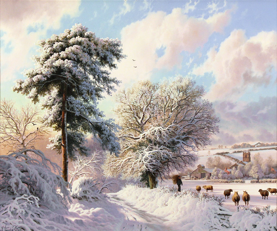 Daniel Van Der Putten, Original oil painting on panel, Weedon Lane in Winter, Northamptonshire