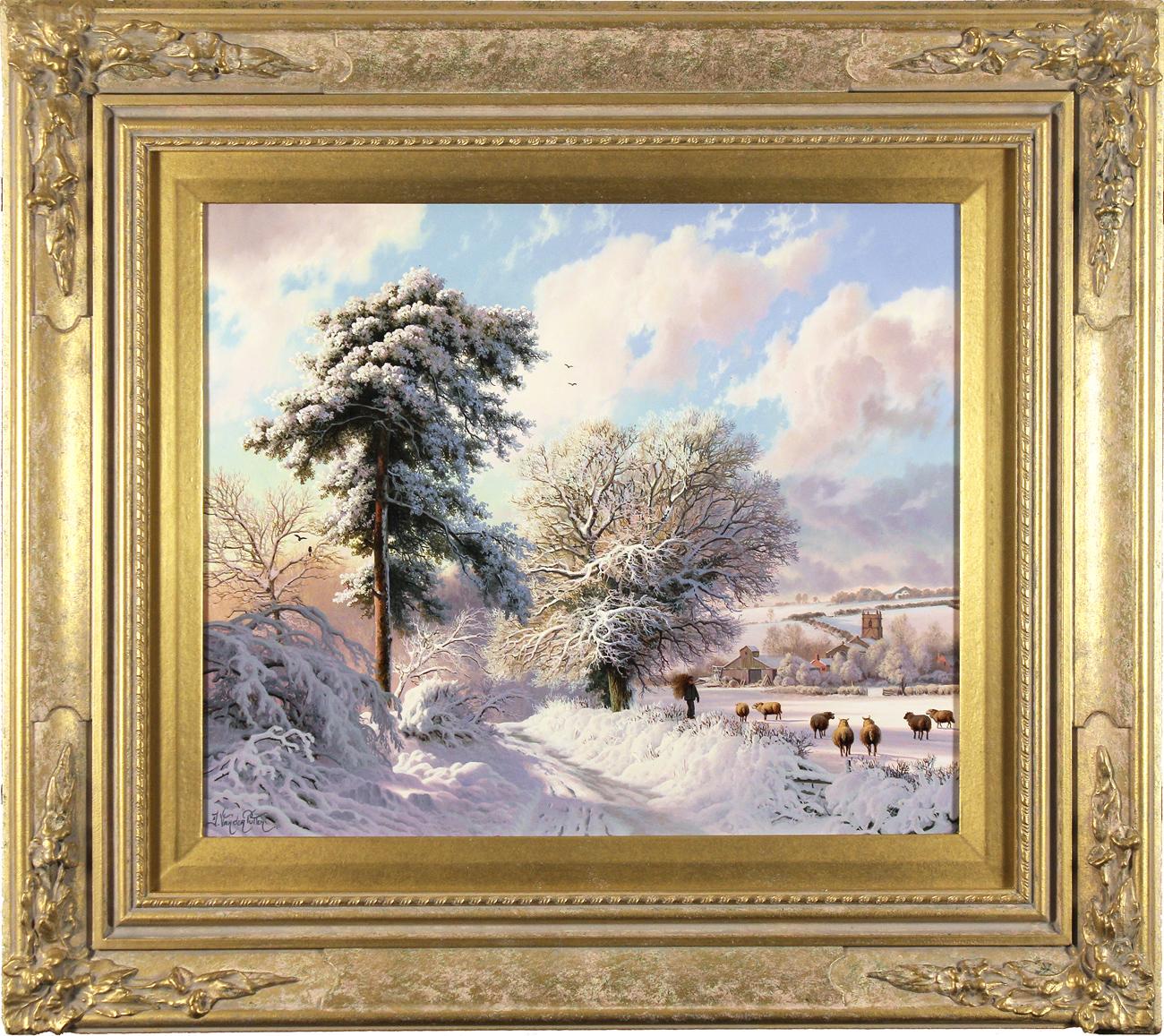 Daniel Van Der Putten, Original oil painting on panel, Weedon Lane in Winter, Northamptonshire, click to enlarge