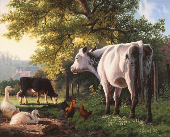 Daniel Van Der Putten, Original oil painting on panel, Farmyard Corner