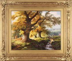 Daniel Van Der Putten, Original oil painting on panel, Light through the Oaks